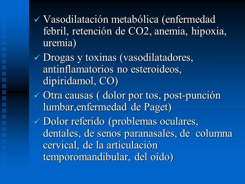 Vasodilatación metabólica (enfermedad febril, retención de CO2, anemia, hipoxia, uremia)
