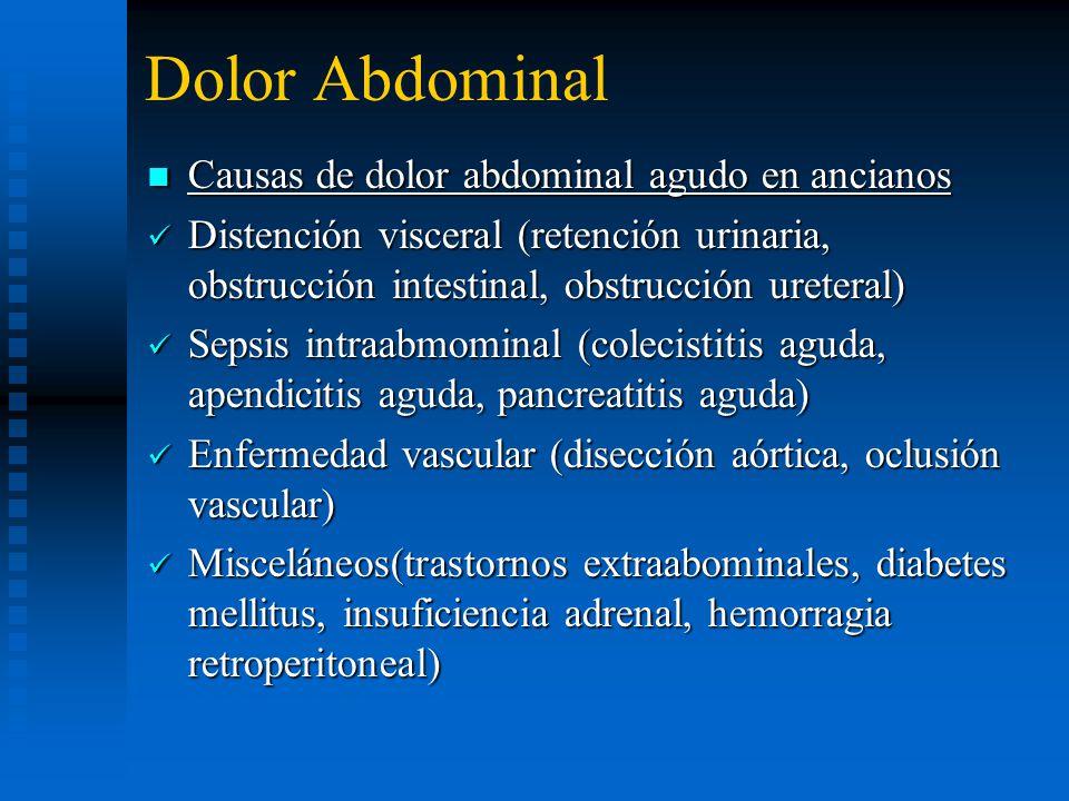 Dolor Abdominal Causas de dolor abdominal agudo en ancianos