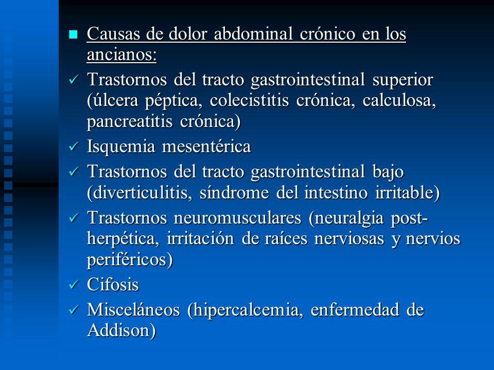 Causas de dolor abdominal crónico en los ancianos: