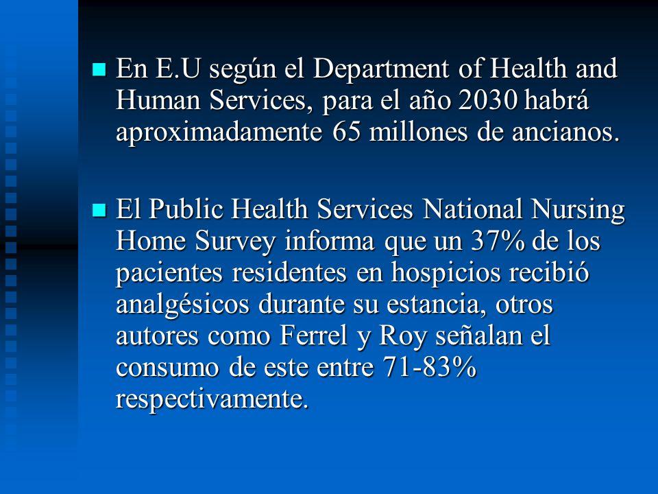 En E.U según el Department of Health and Human Services, para el año 2030 habrá aproximadamente 65 millones de ancianos.