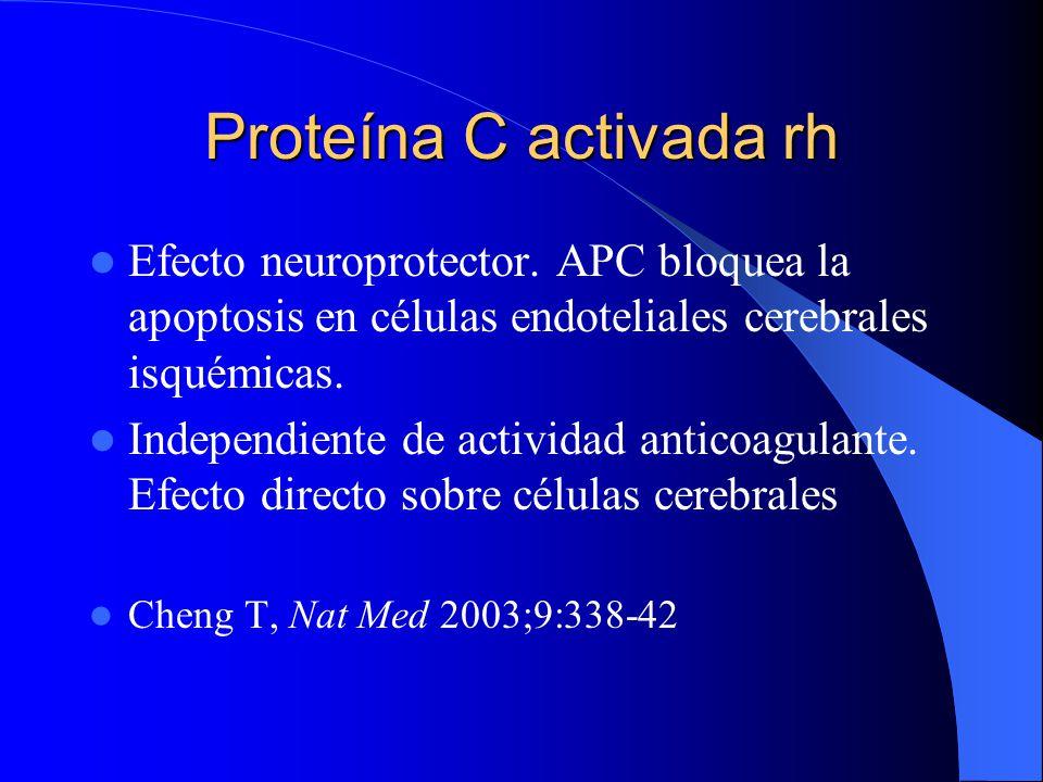 Proteína C activada rh Efecto neuroprotector. APC bloquea la apoptosis en células endoteliales cerebrales isquémicas.