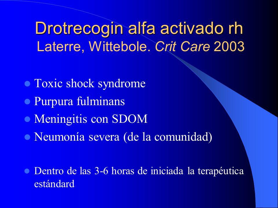 Drotrecogin alfa activado rh Laterre, Wittebole. Crit Care 2003