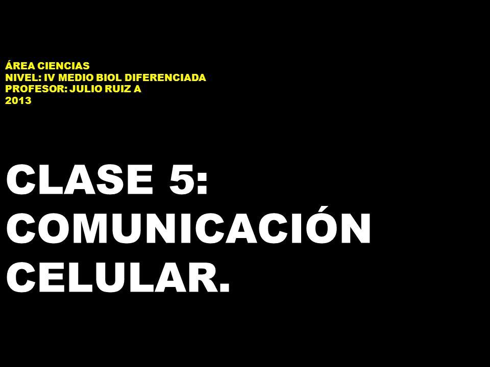 ÁREA CIENCIAS NIVEL: IV MEDIO BIOL DIFERENCIADA PROFESOR: JULIO RUIZ A 2013 CLASE 5: COMUNICACIÓN CELULAR.