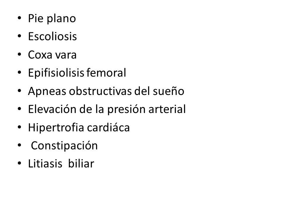 Pie plano Escoliosis. Coxa vara. Epifisiolisis femoral. Apneas obstructivas del sueño. Elevación de la presión arterial.