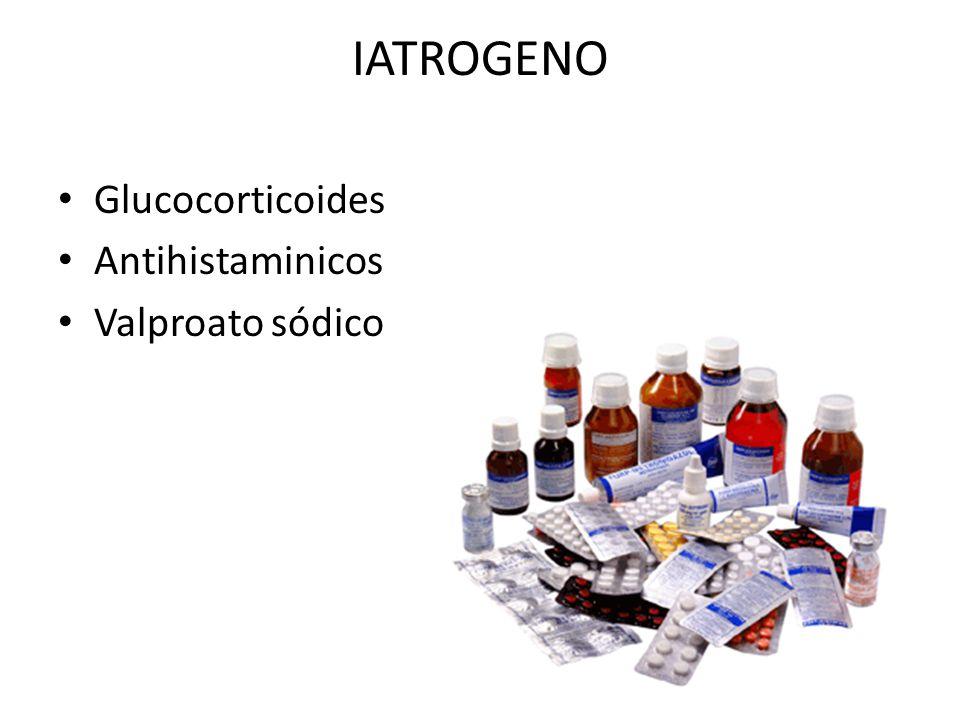 IATROGENO Glucocorticoides Antihistaminicos Valproato sódico