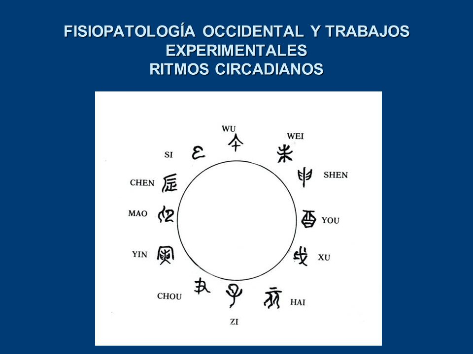FISIOPATOLOGÍA OCCIDENTAL Y TRABAJOS EXPERIMENTALES RITMOS CIRCADIANOS