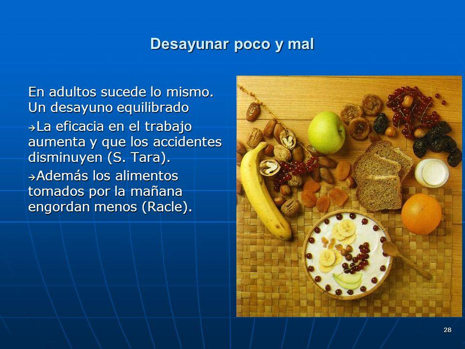 Desayunar poco y mal En adultos sucede lo mismo. Un desayuno equilibrado.