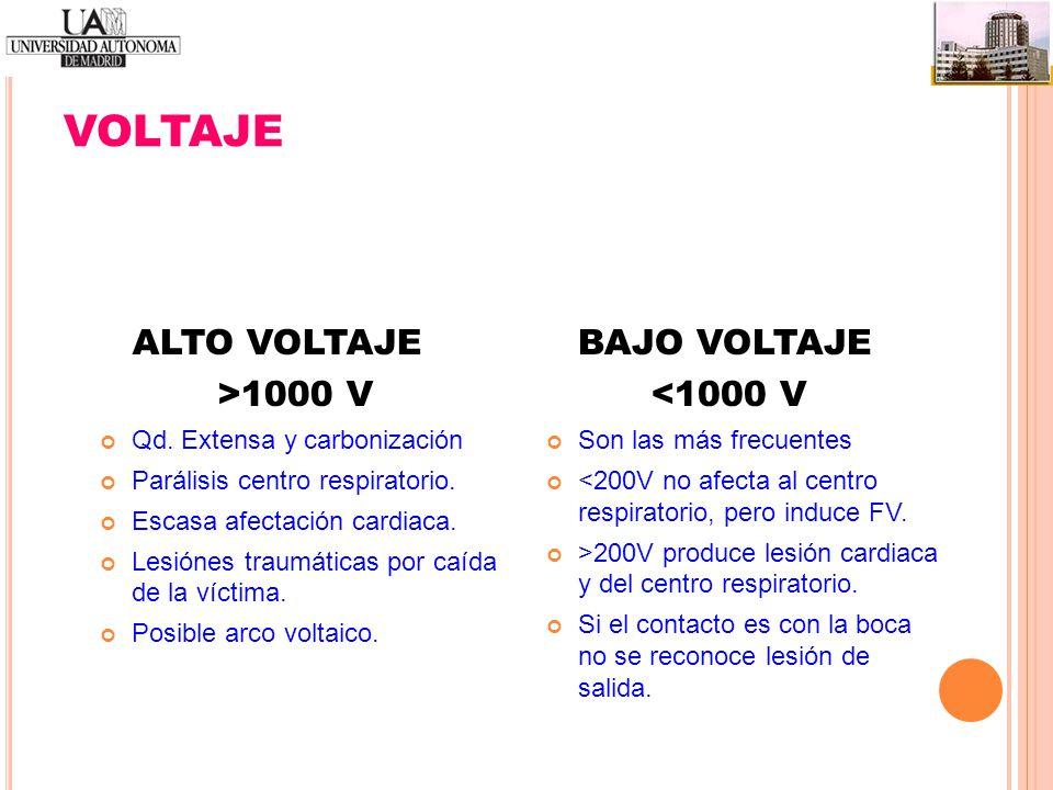 VOLTAJE ALTO VOLTAJE >1000 V BAJO VOLTAJE <1000 V