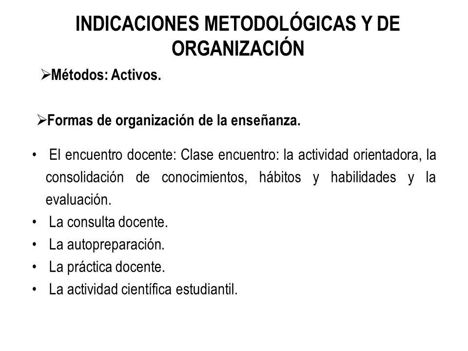 INDICACIONES METODOLÓGICAS Y DE ORGANIZACIÓN