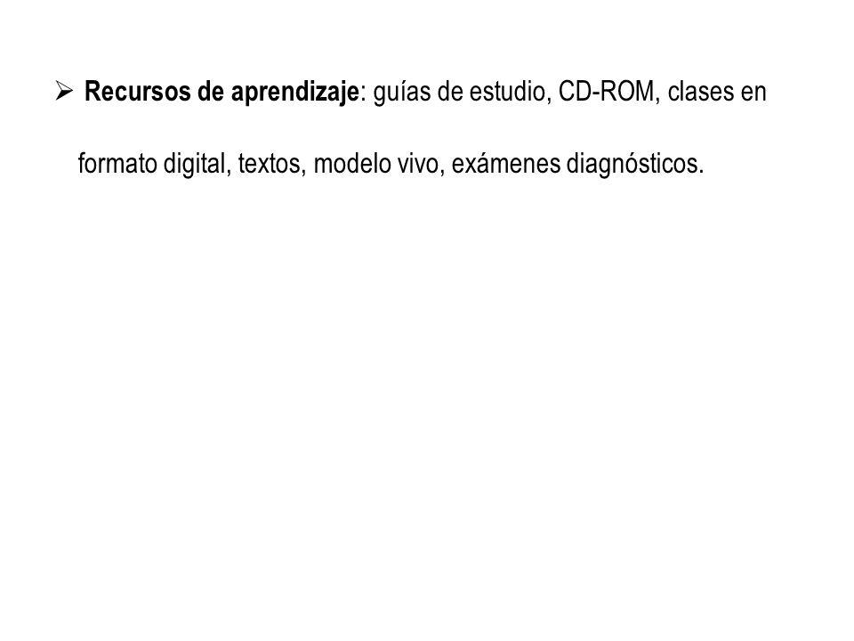 Recursos de aprendizaje: guías de estudio, CD-ROM, clases en formato digital, textos, modelo vivo, exámenes diagnósticos.