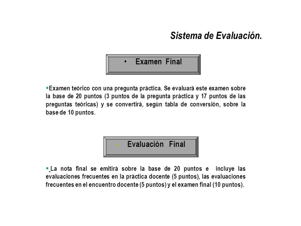 Sistema de Evaluación. Examen Final Evaluación Final