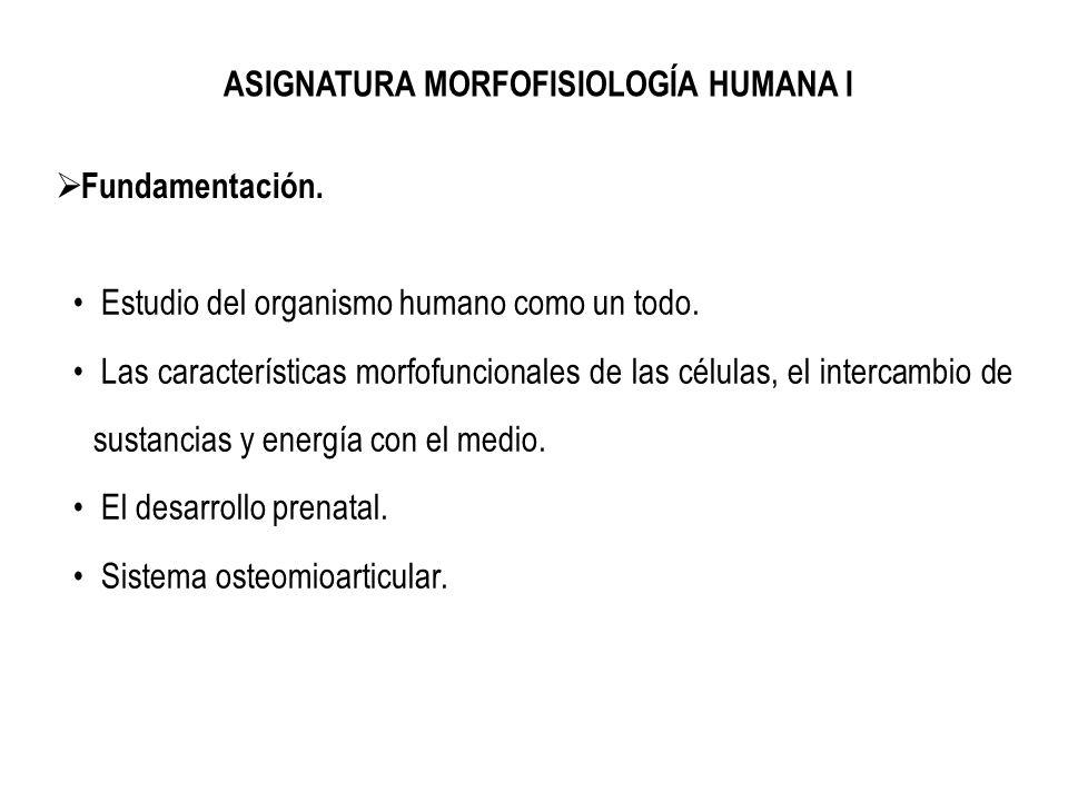 ASIGNATURA MORFOFISIOLOGÍA HUMANA I