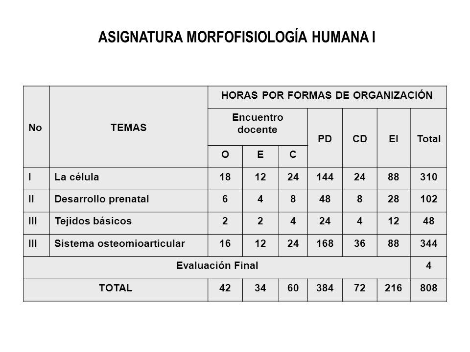 ASIGNATURA MORFOFISIOLOGÍA HUMANA I HORAS POR FORMAS DE ORGANIZACIÓN