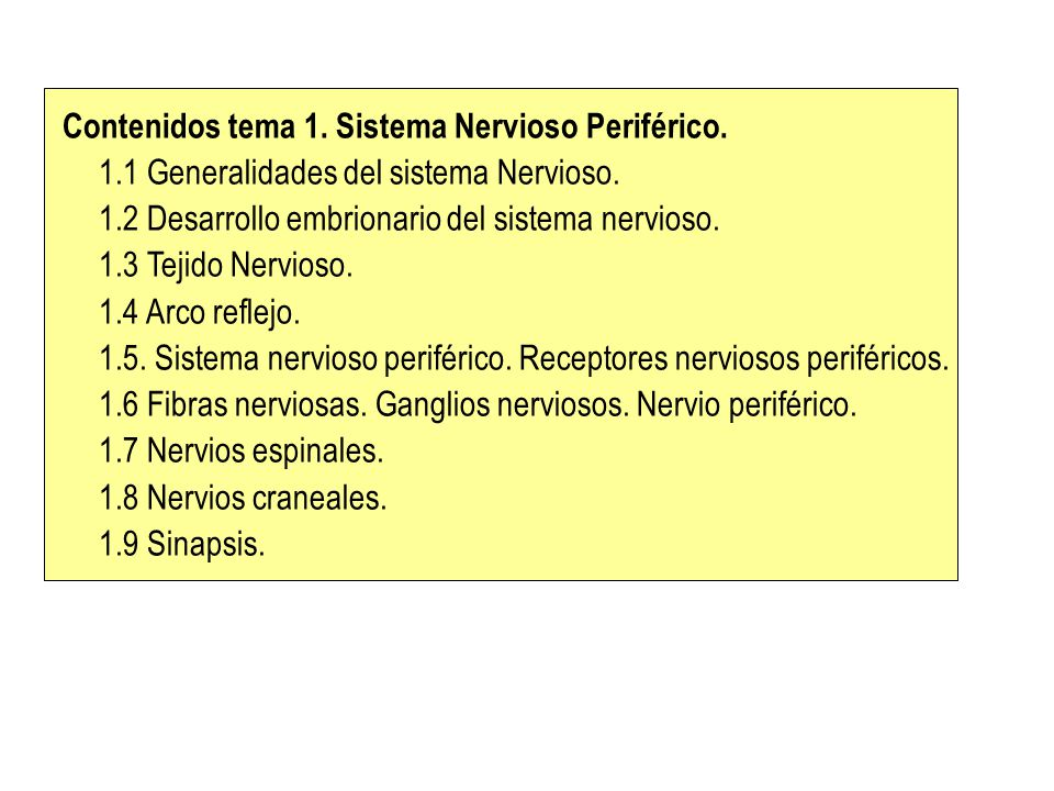 Contenidos tema 1. Sistema Nervioso Periférico.