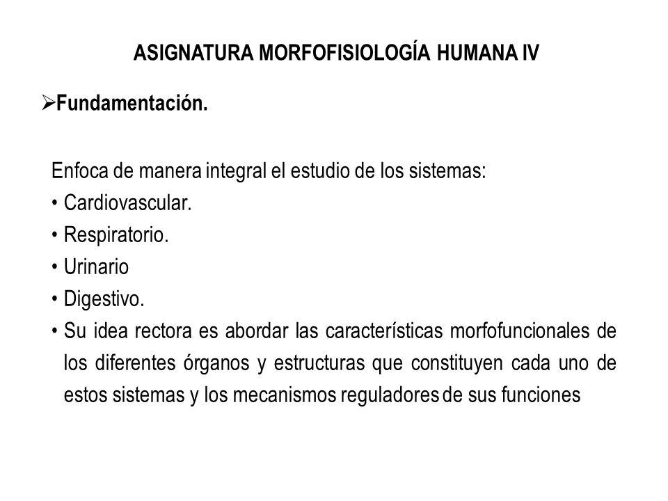 ASIGNATURA MORFOFISIOLOGÍA HUMANA IV