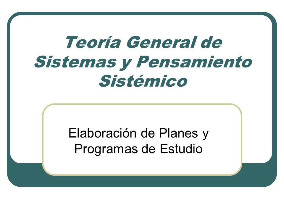 Teoría General de Sistemas y Pensamiento Sistémico