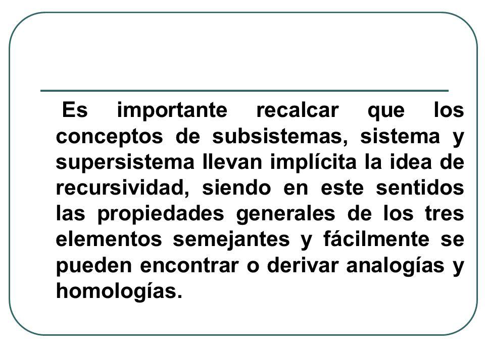 Es importante recalcar que los conceptos de subsistemas, sistema y supersistema llevan implícita la idea de recursividad, siendo en este sentidos las propiedades generales de los tres elementos semejantes y fácilmente se pueden encontrar o derivar analogías y homologías.