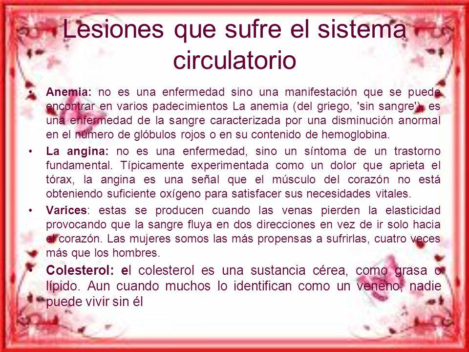 Lesiones que sufre el sistema circulatorio