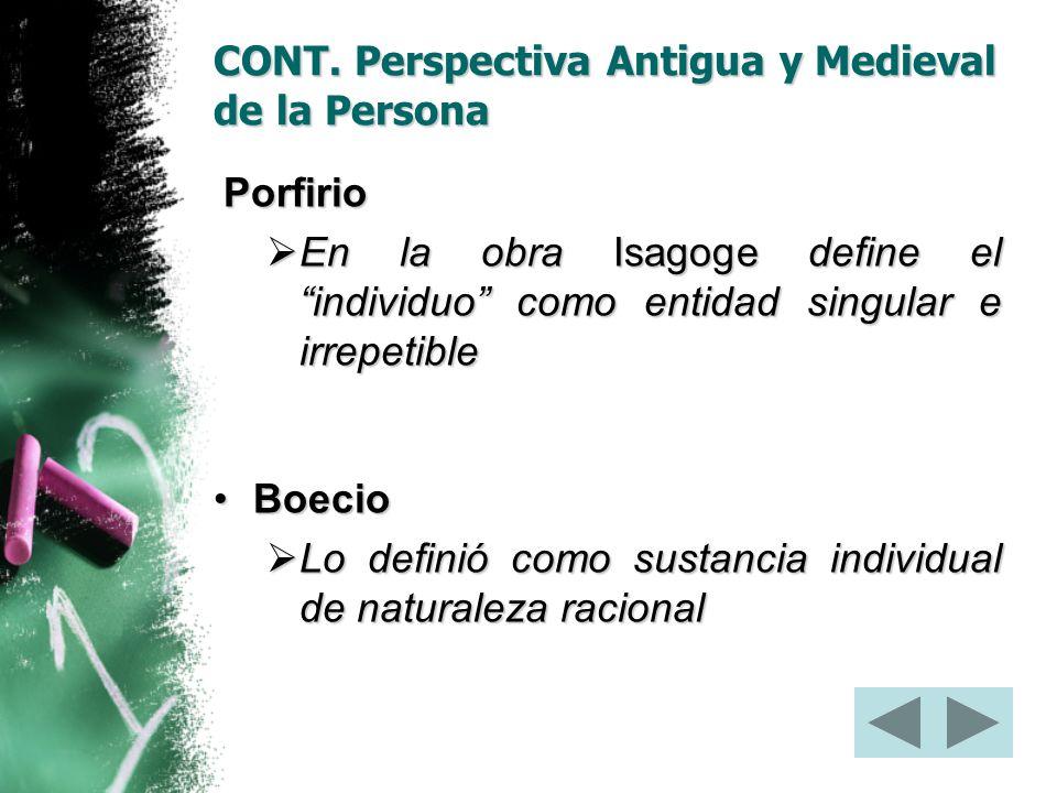 CONT. Perspectiva Antigua y Medieval de la Persona