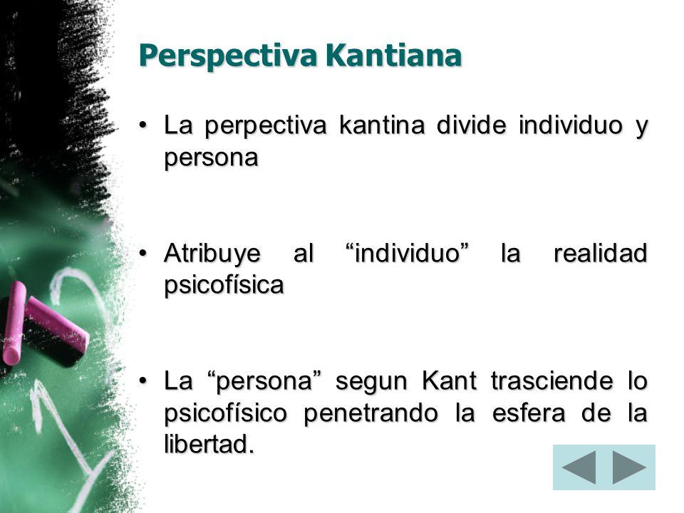 Perspectiva Kantiana La perpectiva kantina divide individuo y persona