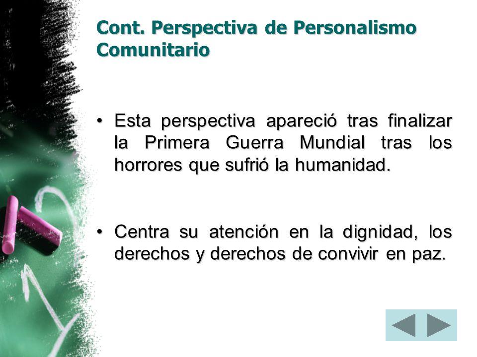 Cont. Perspectiva de Personalismo Comunitario