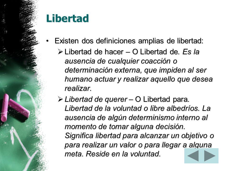 Libertad Existen dos definiciones amplias de libertad: