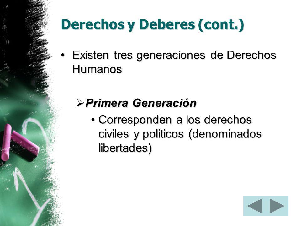Derechos y Deberes (cont.)