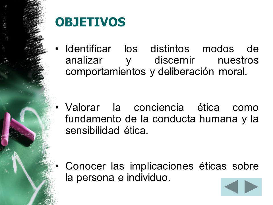 OBJETIVOS Identificar los distintos modos de analizar y discernir nuestros comportamientos y deliberación moral.
