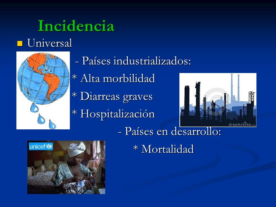 Incidencia Universal - Países industrializados: * Alta morbilidad