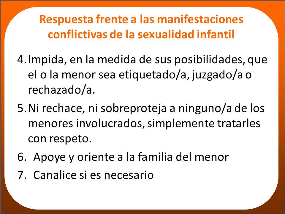 Respuesta frente a las manifestaciones conflictivas de la sexualidad infantil