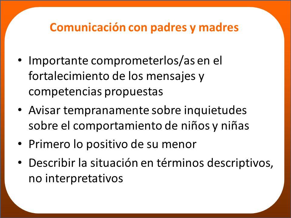 Comunicación con padres y madres
