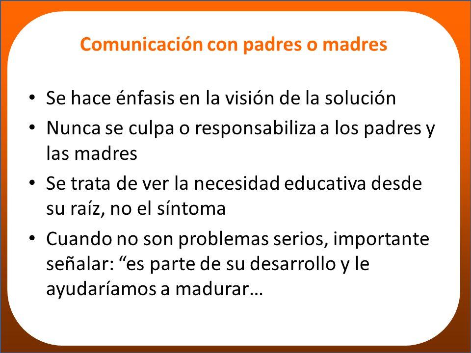 Comunicación con padres o madres