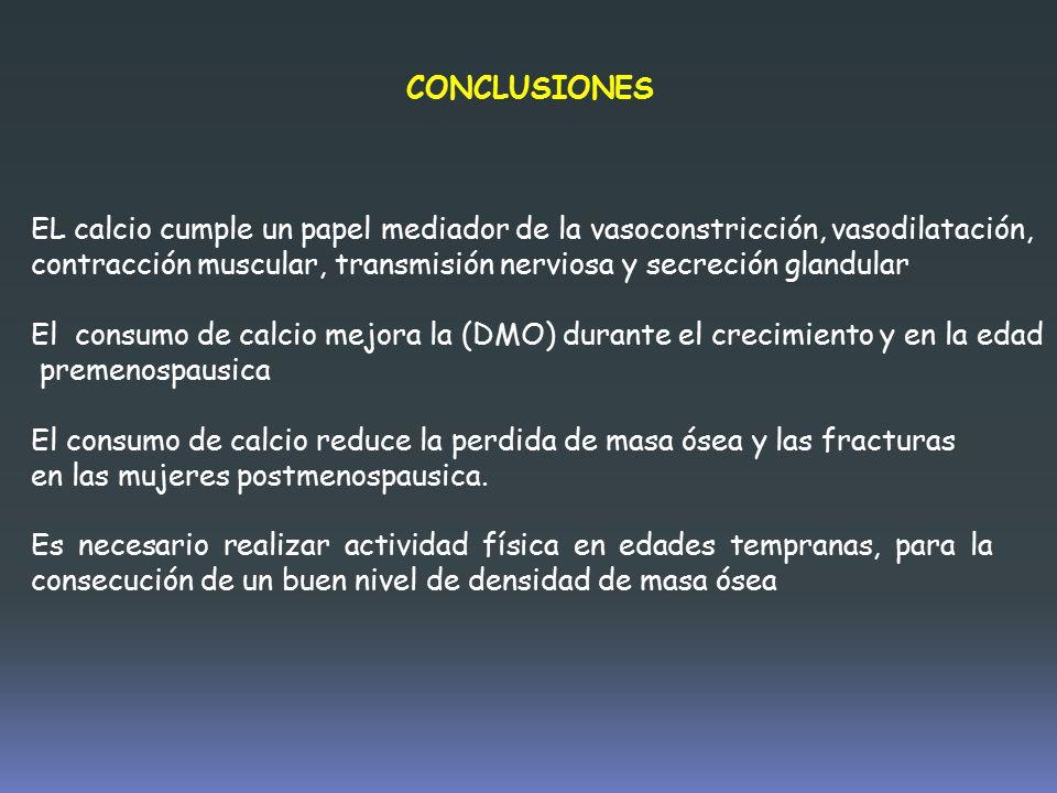 CONCLUSIONES EL calcio cumple un papel mediador de la vasoconstricción, vasodilatación,