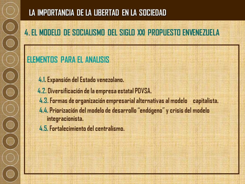 4. EL MODELO DE SOCIALISMO DEL SIGLO XXI PROPUESTO ENVENEZUELA