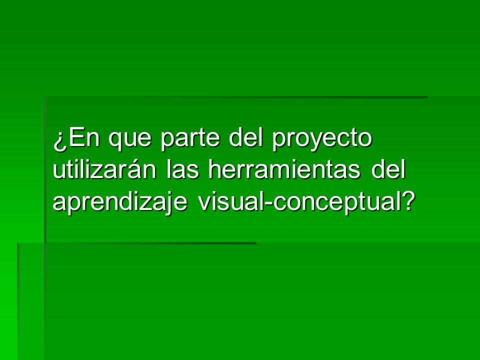 ¿En que parte del proyecto utilizarán las herramientas del aprendizaje visual-conceptual