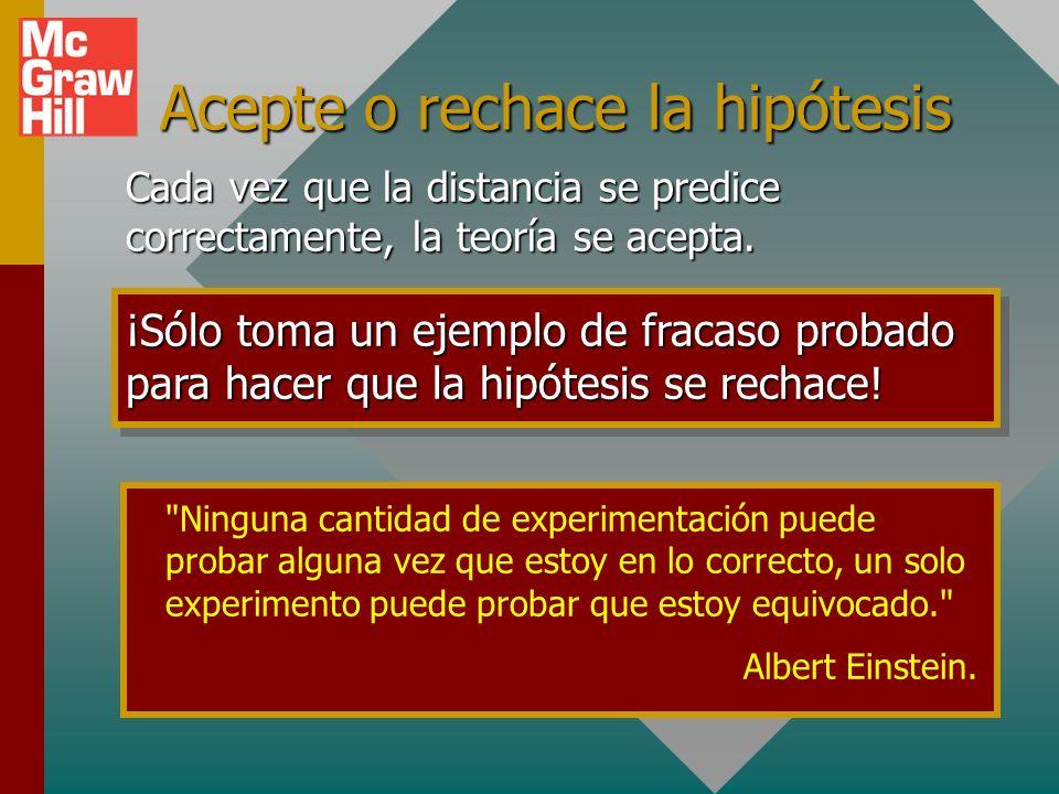 Acepte o rechace la hipótesis