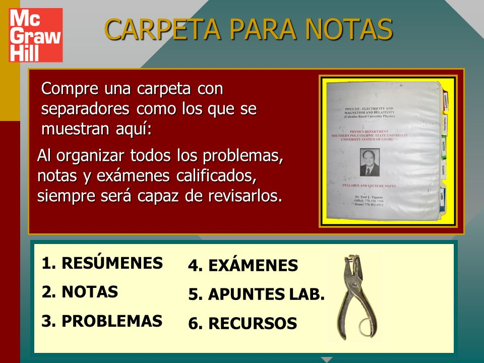 CARPETA PARA NOTASCompre una carpeta con separadores como los que se muestran aquí: