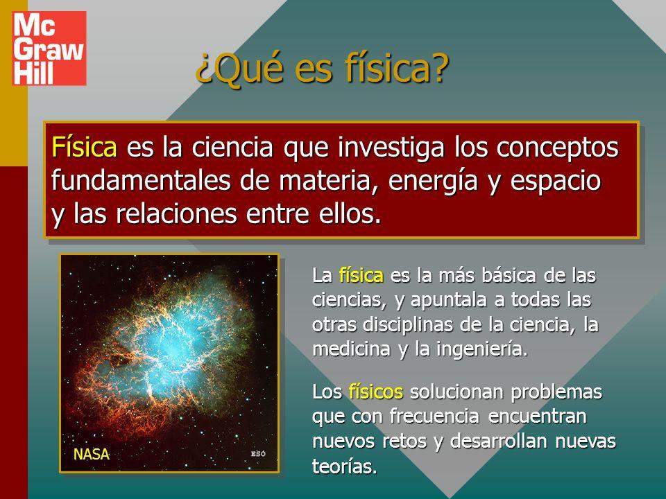 ¿Qué es física Física es la ciencia que investiga los conceptos fundamentales de materia, energía y espacio y las relaciones entre ellos.