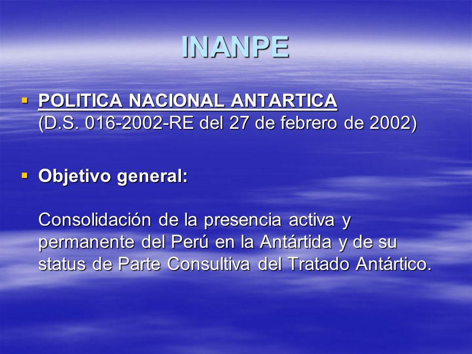 INANPE POLITICA NACIONAL ANTARTICA (D.S. 016-2002-RE del 27 de febrero de 2002)