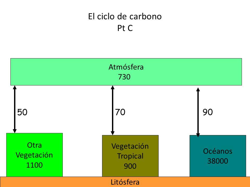 El ciclo de carbono Pt C Atmósfera 730 50 70 90 Otra Vegetación 1100