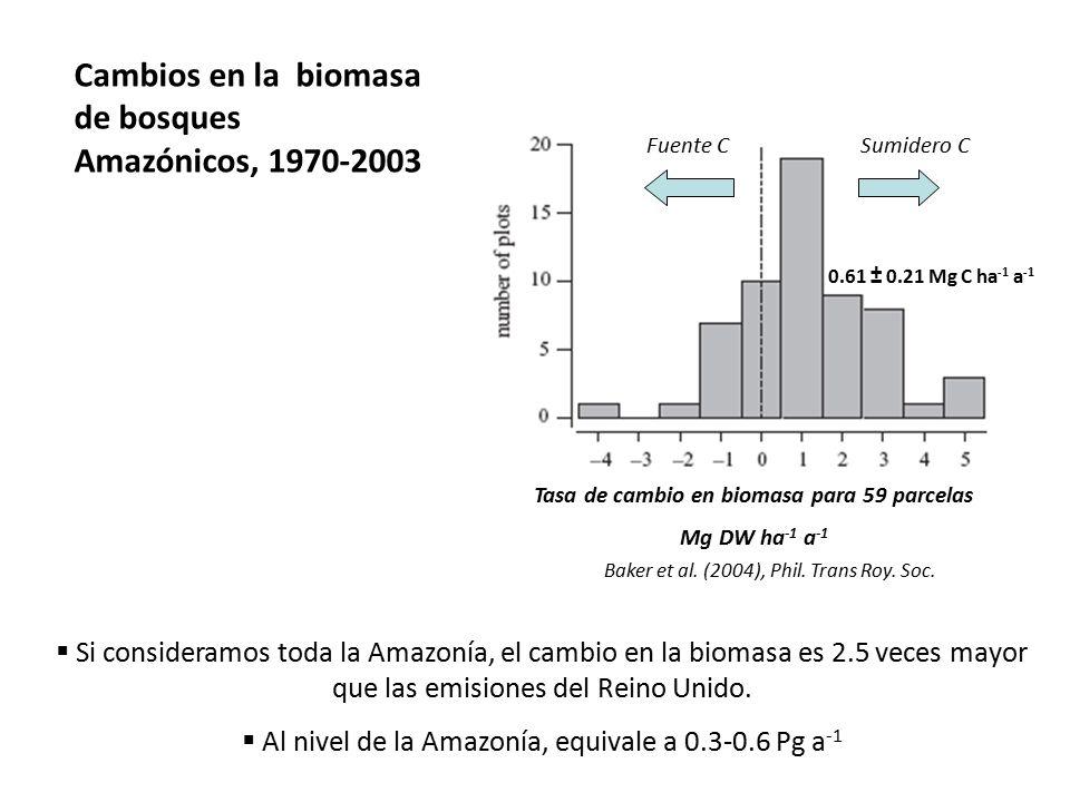 Tasa de cambio en biomasa para 59 parcelas