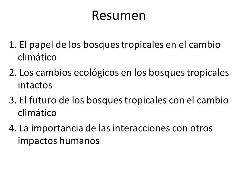 Resumen 1. El papel de los bosques tropicales en el cambio climático