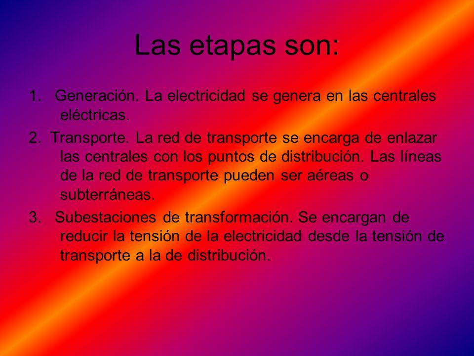 Las etapas son: 1. Generación. La electricidad se genera en las centrales eléctricas.