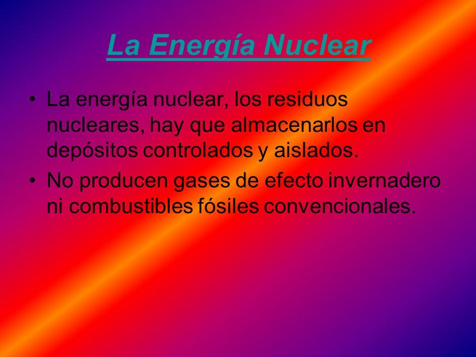 La Energía Nuclear La energía nuclear, los residuos nucleares, hay que almacenarlos en depósitos controlados y aislados.