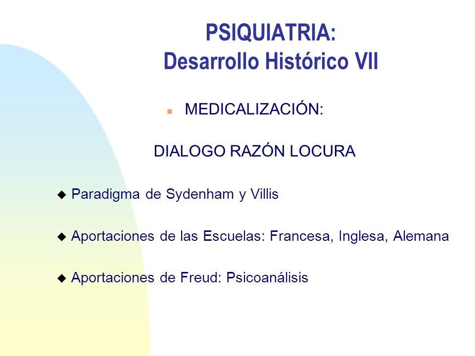 PSIQUIATRIA: Desarrollo Histórico VII