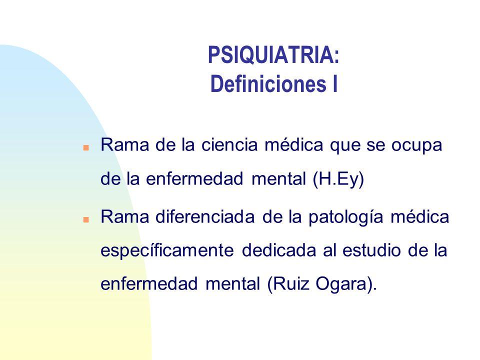 PSIQUIATRIA: Definiciones I