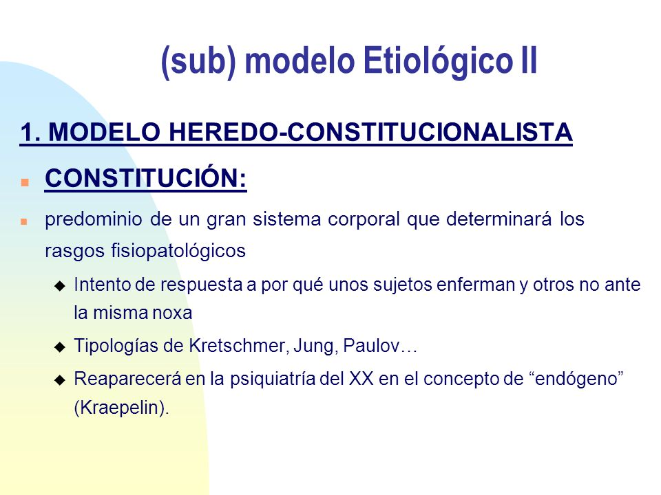 (sub) modelo Etiológico II