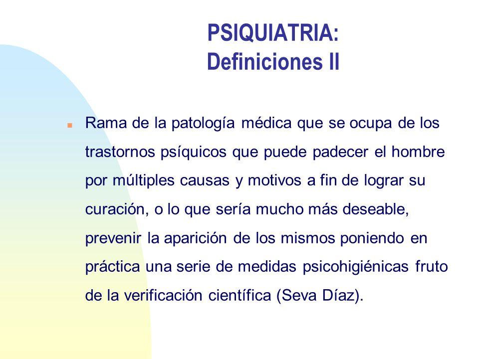 PSIQUIATRIA: Definiciones II