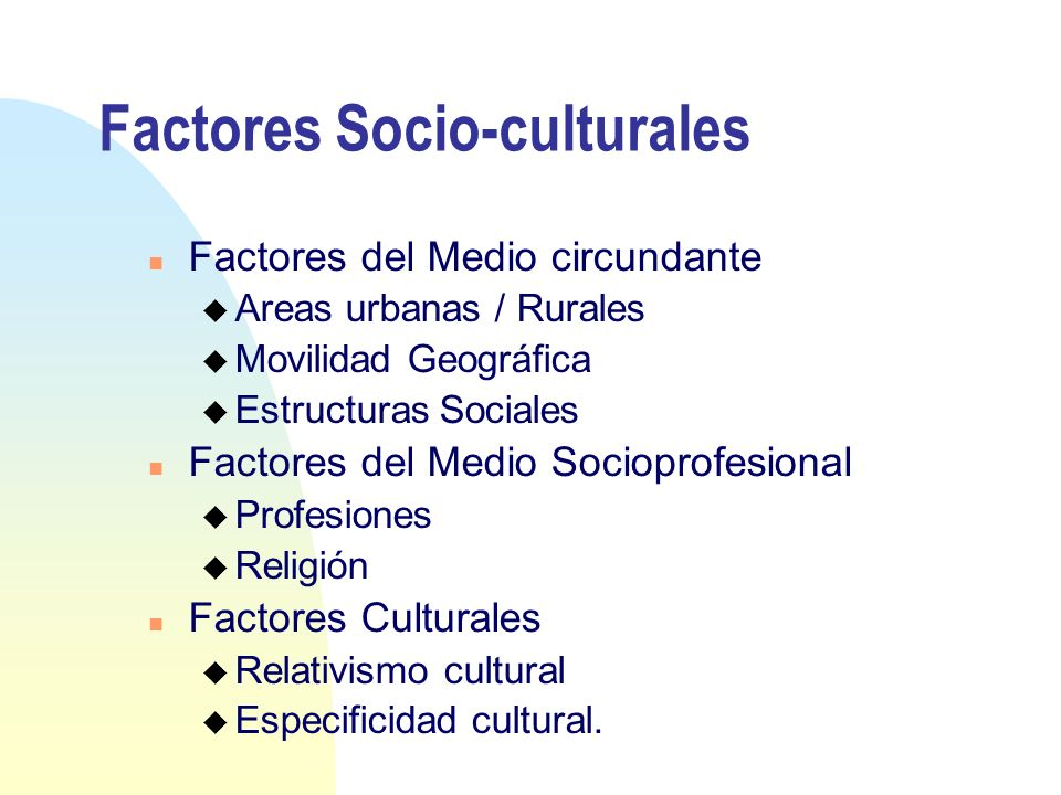 Factores Socio-culturales