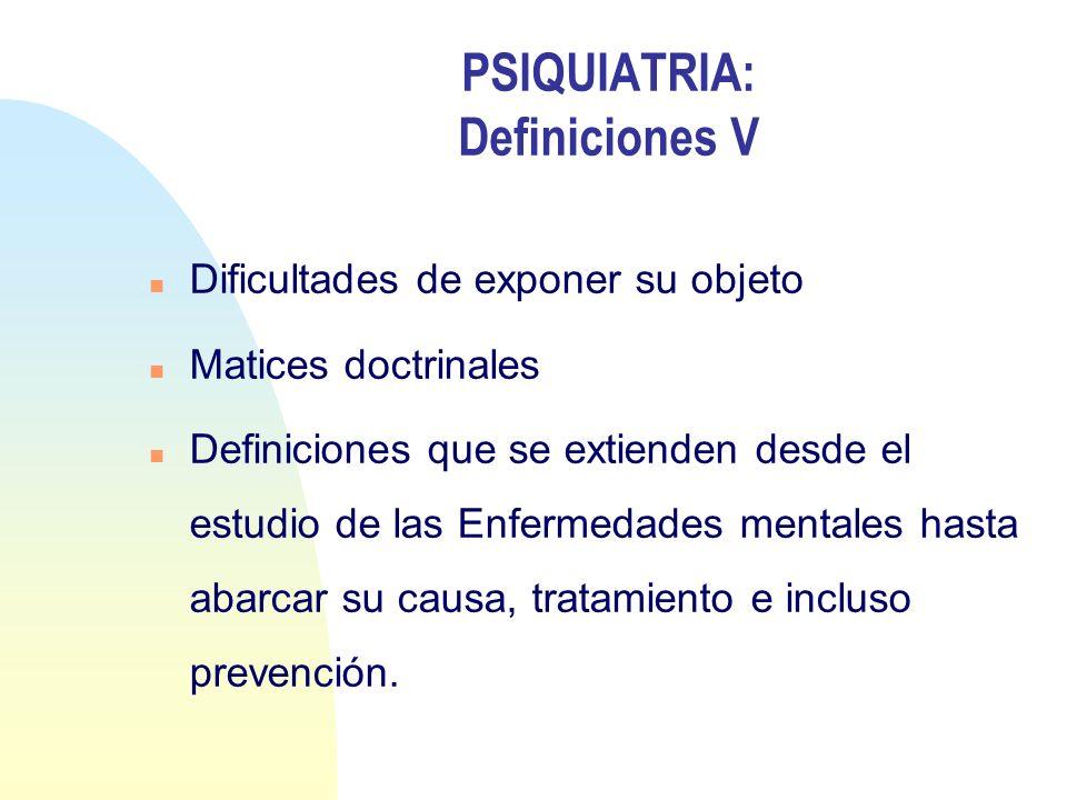 PSIQUIATRIA: Definiciones V